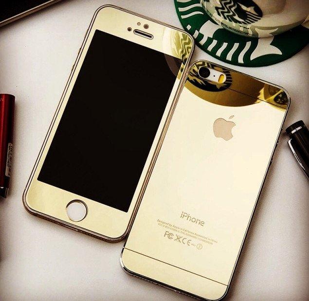 Защитные противоударные ультратонкие золотые зеркальные стекла для Iphone 5/5S