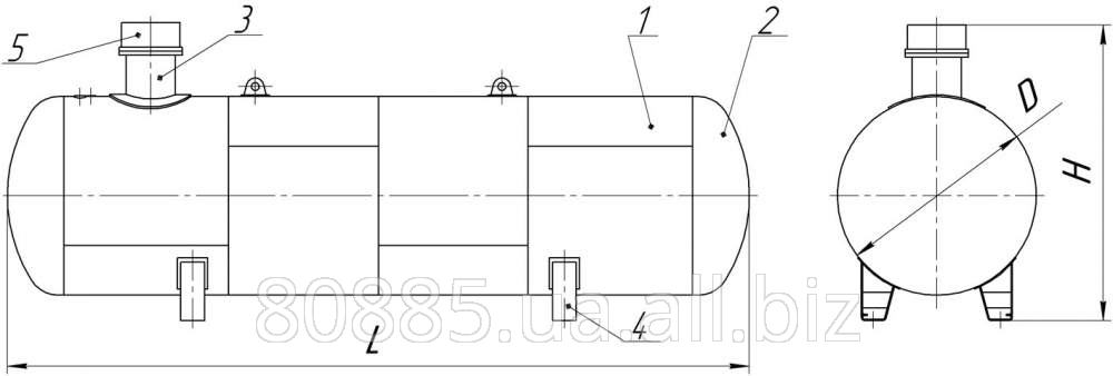 Резервуар для сжиженных углеводородных газов (СУГ) подземный СР045.000.00