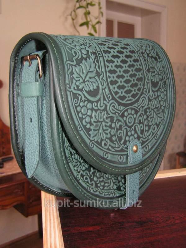 4da8795e16a7 Кожаная сумка ручной работы зеленая