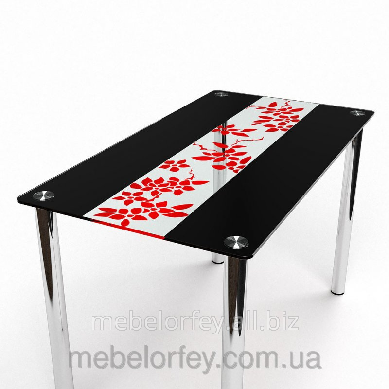 Buy Glass dining table paradise Flowers red-black BTs-Stol