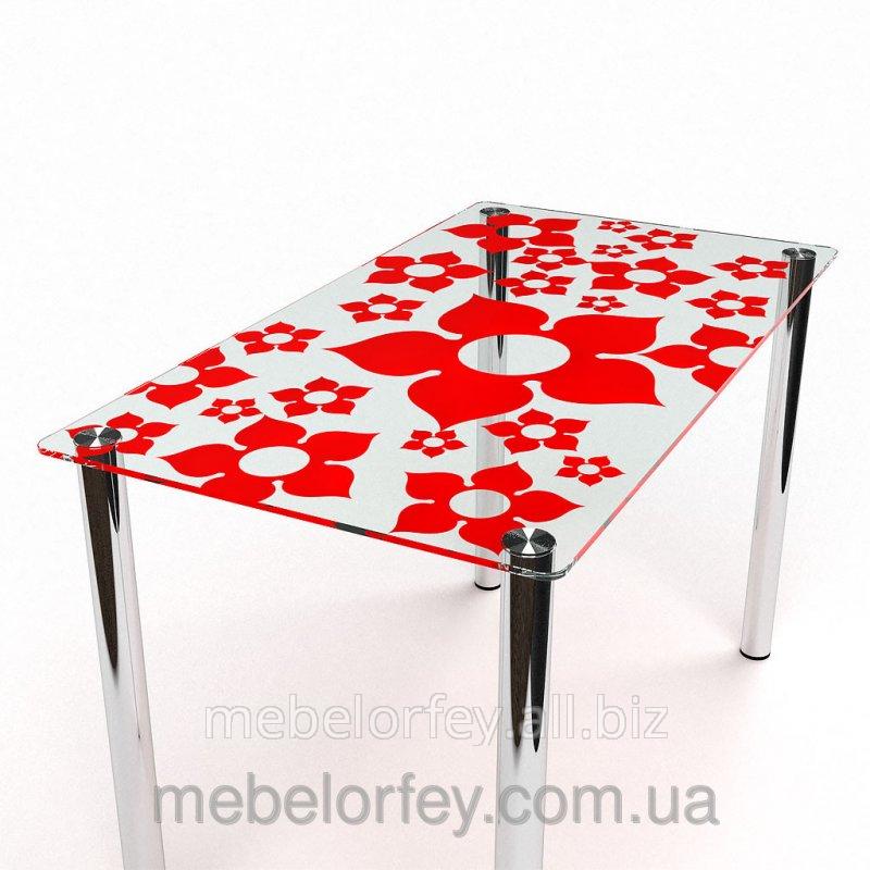 Купить Стеклянный обеденный стол Цветение-1 БЦ-Стол