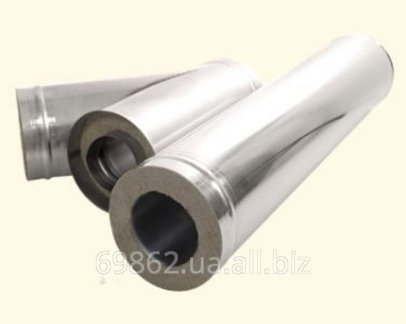 Дымоход из металла 1 мм (AISI 304) утепленный в зеркальной нержавейке