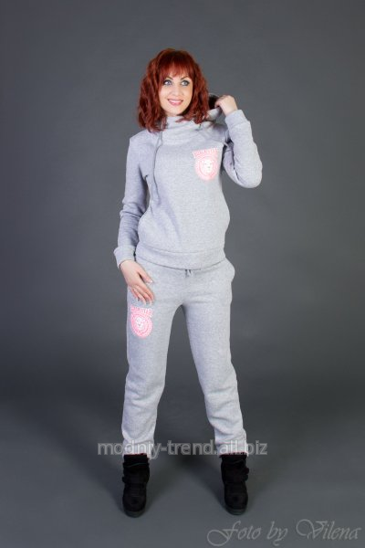 Утепленный женский спортивный костюм на флисе 44 Светло-серый купить ... 0f493b1054a