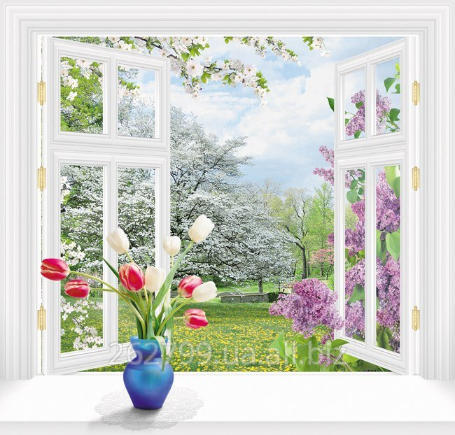 """Buy Photowall-paper """"Behind a window spring"""" from the producer"""