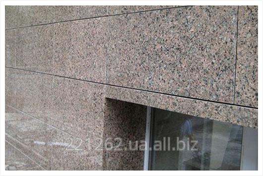 Купить Плитка гранітна облицювальна термооброблена, Покостовське, світло-сірий, t=60 мм