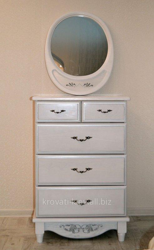 Купить Комод белый деревянный с зеркалом в Николаеве