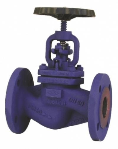 Запирающий клапан PN40 проходной формы с аттестатом 3.1.В EN 10 204