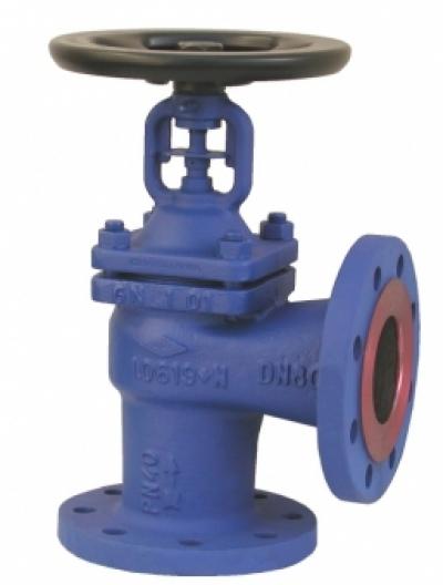 Запирающий клапан PN40 угловой формы, с аттестатом 3.1.В EN 10 204