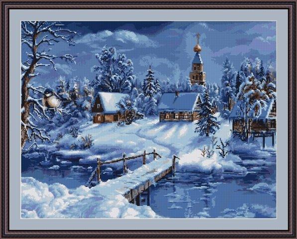 Зимний пейзаж вышивка купить