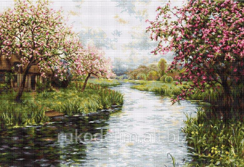 Весна пейзаж вышивка крестом