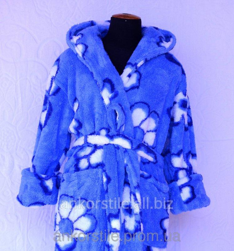 Купить Халат махровый женский Синий и белая ромашка короткий