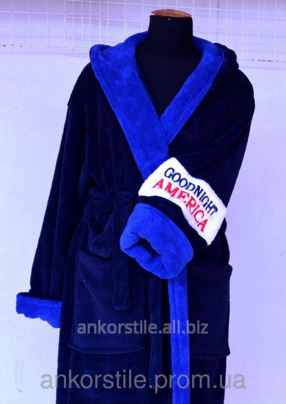 Купить Халат мужской махровый Синий с голубым XXL