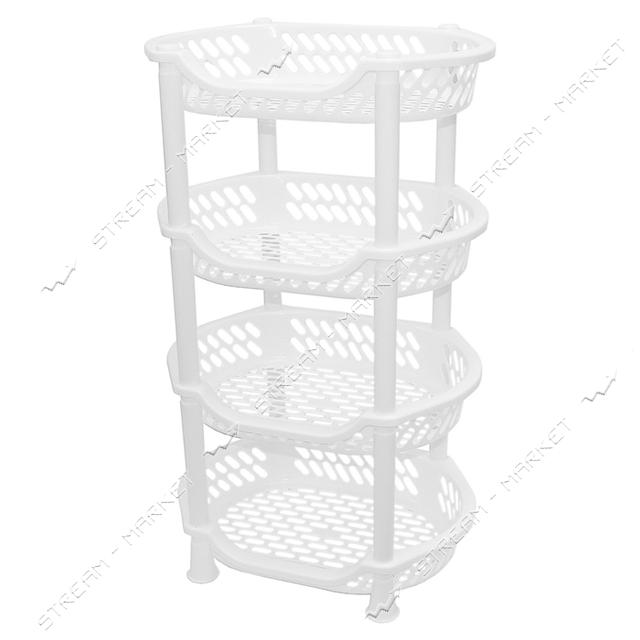 Этажерка пластиковая 4 яруса белая 995612