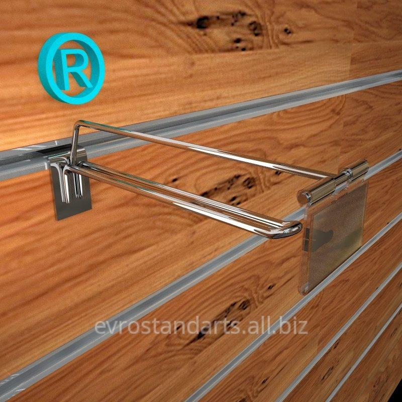 Крючок хромированный для эконом панелей двухполосный с ценникодержателем