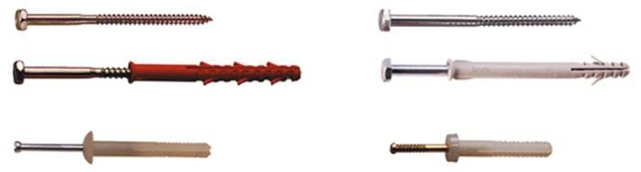 Дюбеля - латунные, стальные, полипропиленовые, нейлоновые, с шурупом,  гипсокартонные, с С - и Г - крючком, «Driva», потолочные, дюбель-гвозди, пистолетные, перекидные, «Molly».