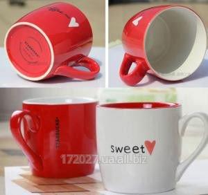 Купить Керамическая красная чашка Сердце. Starbucks.