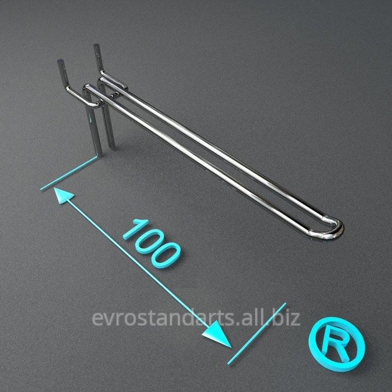 Торговый крючок двойной на перфорацию 100 мм