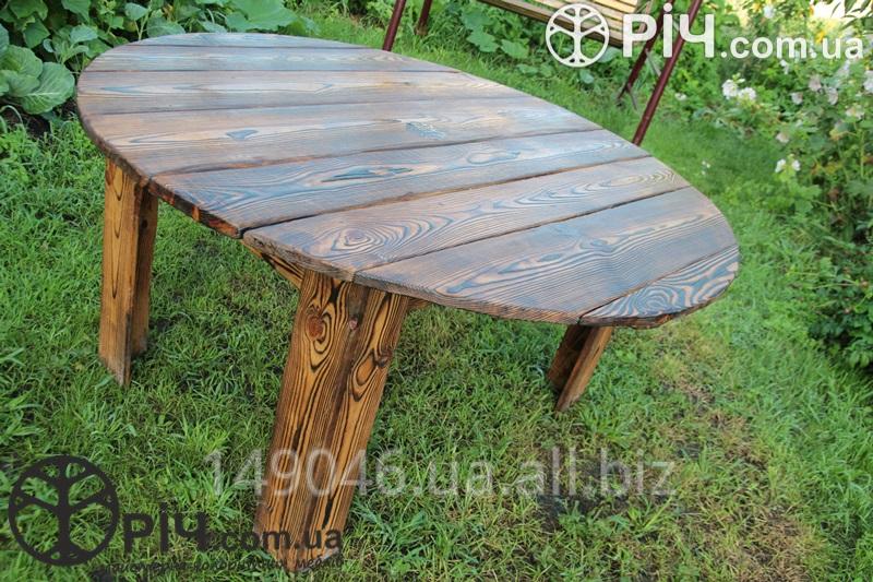 деревянный раскладной круглый стол по старину из дерева