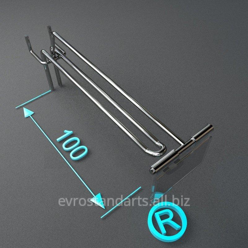 Торговый крючок двойной с ценникодержателем 100 мм