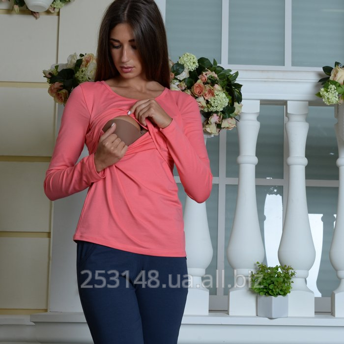 Buy T-shirt with a long sleeve for the feeding mothers, coral, the size M