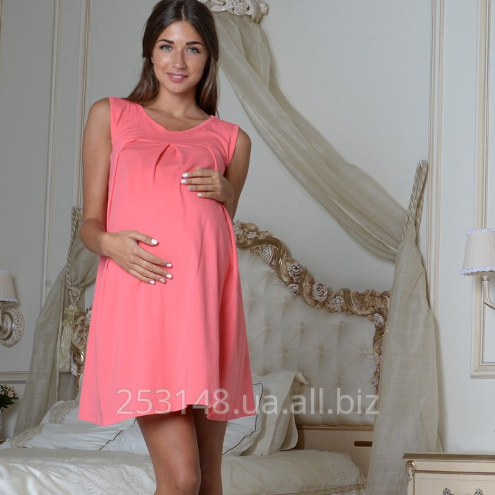 Buy Nightgown continuous for pregnant women and feeding, coral, the size M