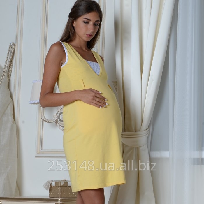 Buy Nightgown with a bodice for pregnant women and feeding, yellow, the size M