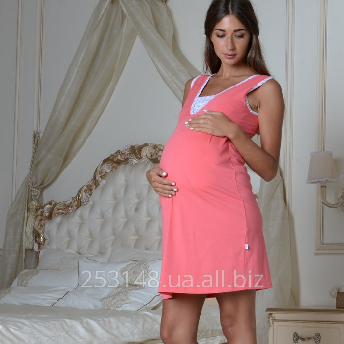 Buy Nightgown with a bodice for pregnant women and feeding, coral, the size XL