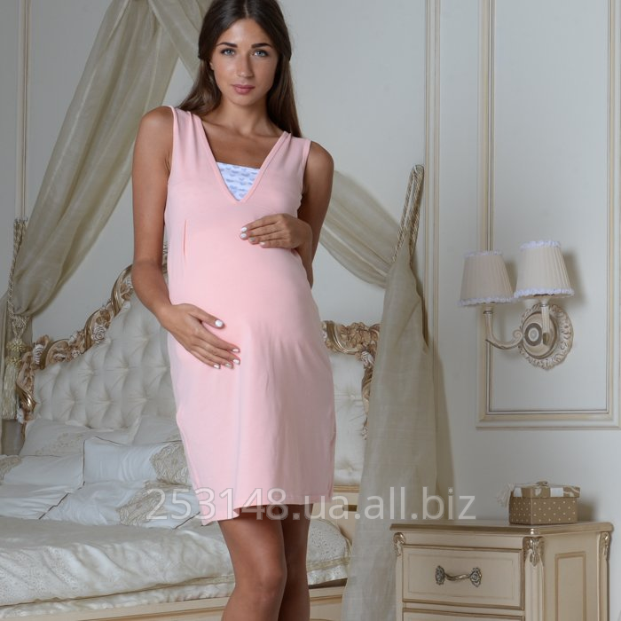 Buy Nightgown with a bodice for pregnant women and feeding, peach, the size M