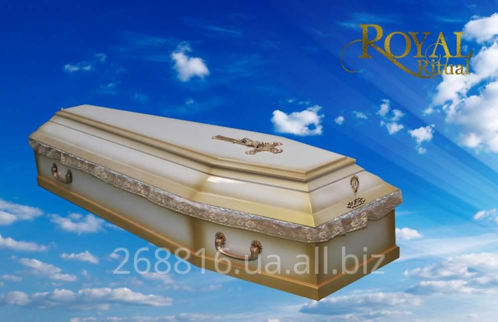 Купить Гроб Шестигранный белый лакированный