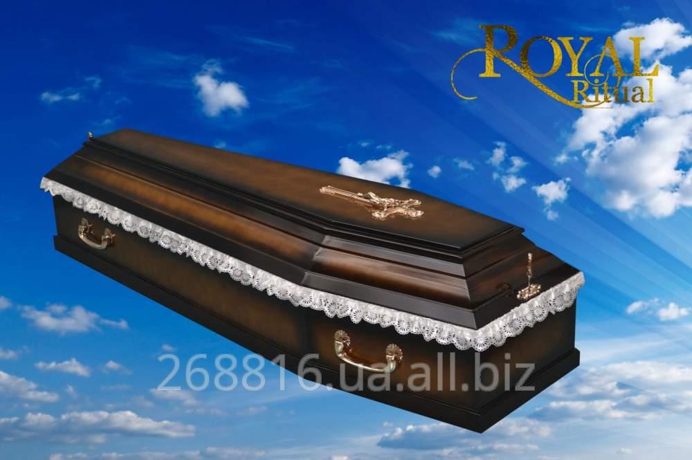 Купить Гроб Шестигранный ореховый лакированный