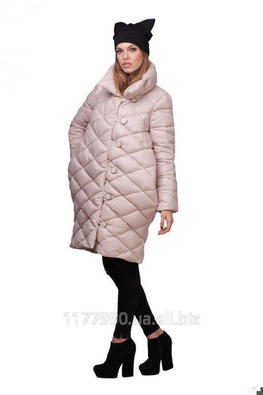 Модная женская зимняя длинная куртка-пуховик бежевая купить в Харькове 40bcf35b494