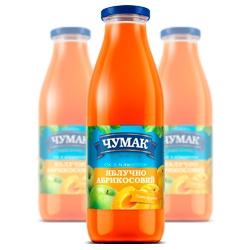 Яблочно-абрикосовый сок в стеклянной банке (750 мл.)