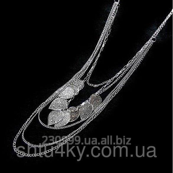 Купить Многослойное золотое ожерелье Цепи и листья серебристые