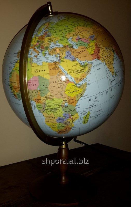 Купить Политический глобус (без подсветки)/Физический (с подсветкой) 42 см. дерев. ножка напольный