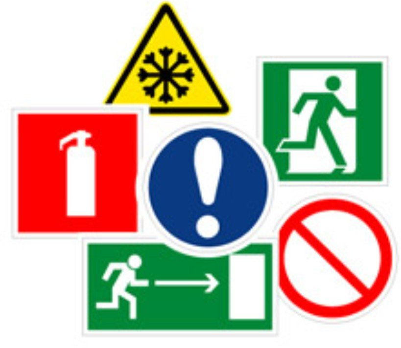 Safety Signs The Warning Plates Stands On Fire And Electrical
