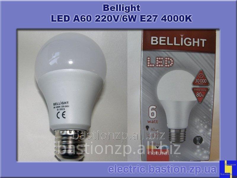 Лампа LED A60 220V/6W E27 4000K Энергосберегающая светодиодная