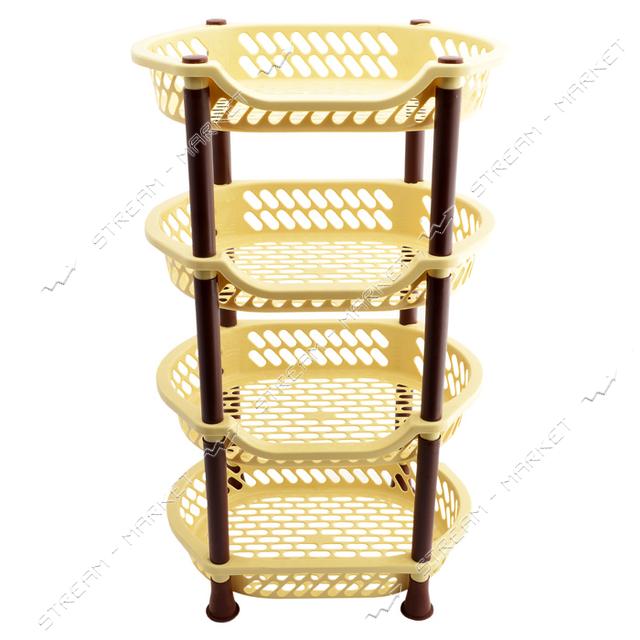 Этажерка пластиковая для ванны и кухни 4 яруса бежево-коричневая 995613