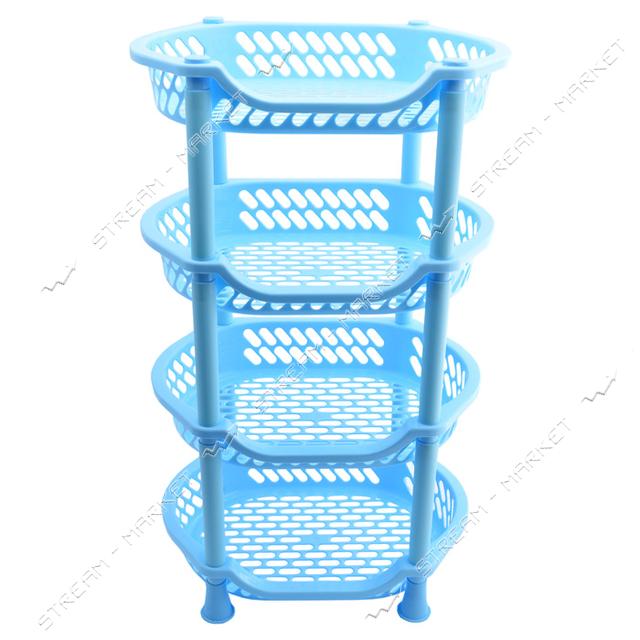 Этажерка пластиковая для ванны и кухни 4 яруса голубая 995614