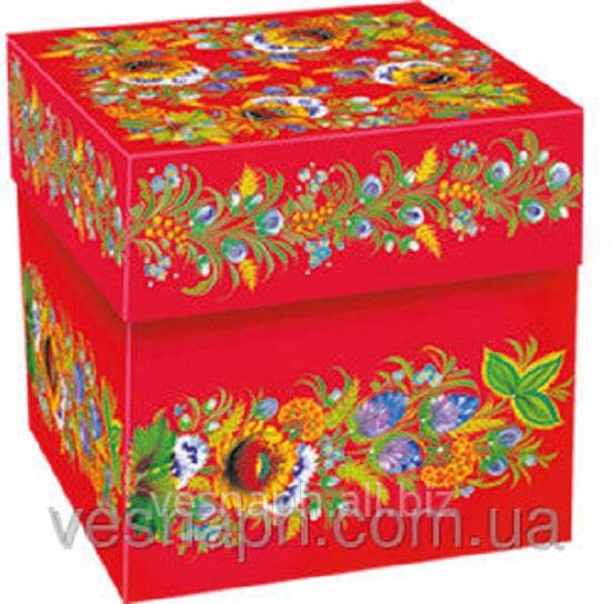 Набор подарочных коробок  Куб Петриковская роспись
