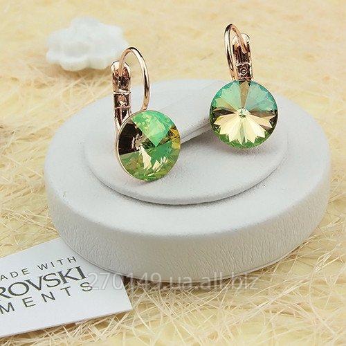 4d7376c7f Earrings with a crystal of Swarovski Rivoli Crystal Luminous Green pink  gilding
