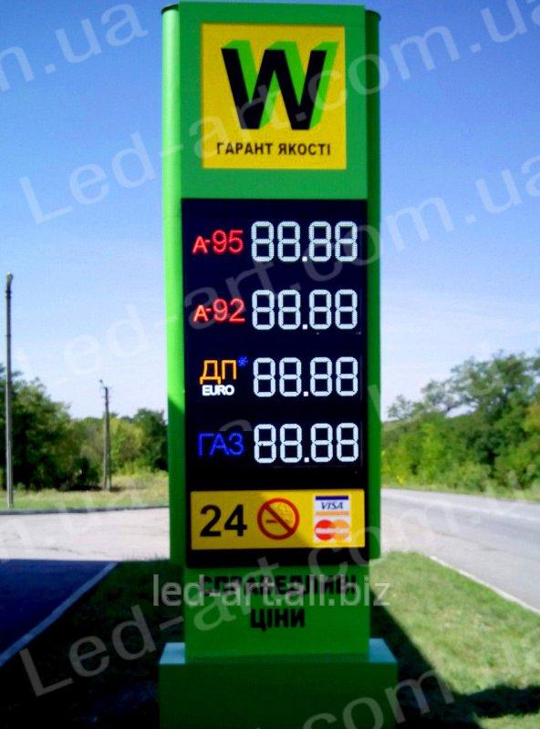 Купить Световая рекламная стела для АЗС со светодиодными табло 4000 х 1400 мм, код 102003000182