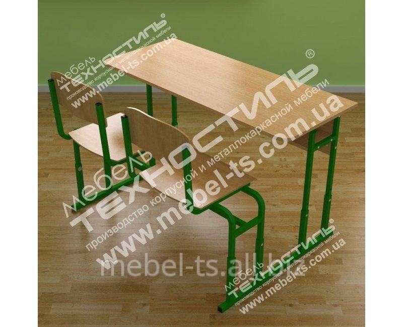 Парта монолитная со стульями МСР-21