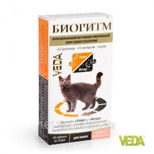 Купить Витамины Биоритм для кошек с рыбой 48 таб Veda