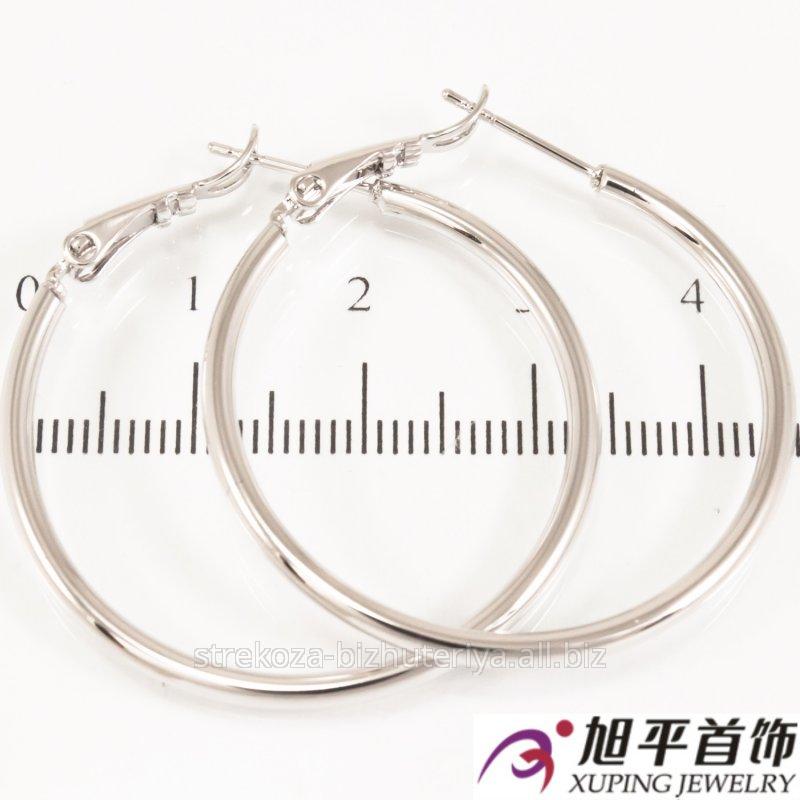 Купить Серьги ''Кольца'' родиум (3,5 см) ровные 324240(1)