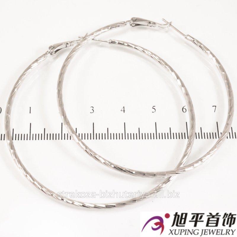 Купить Серьги ''Кольца'' родиум, (5,5 см), гладкие 324500(1)