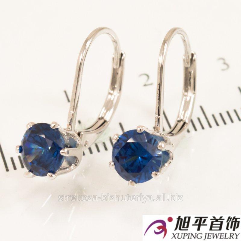Купить Серьги родиум ''Камушек'' , голубой 524943(2)