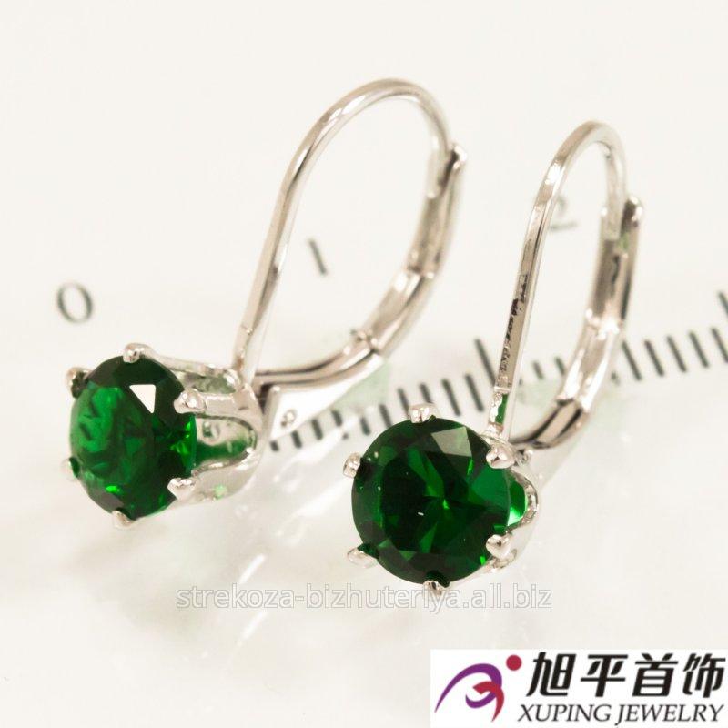 Купить Серьги родиум ''Камушек'' , зеленый 524943(3)