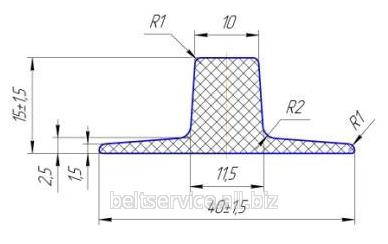 Шевроны Т15х40 для шевронирования конвейерных лент