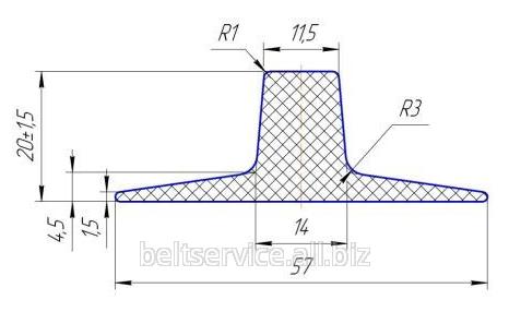 Шевроны Т20х57 для шевронирования конвейерных лент