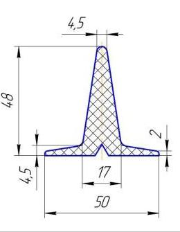 Шевроны Т48х50 для шевронирования конвейерных лент